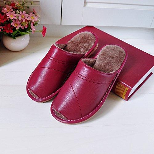 Fankou autunno inverno home il cotone pantofole di rugiada uomini pantofole indoor morbida antiscivolo pavimentazione impermeabile home pantofole 26 (37-38), la donna viola
