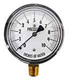 Kodiak Controls KC25-10'' H20 Low Pressure Gauge, 0-10'' WC, 0-10 IWC, Dry, 2-1-2% Accuracy, Bottom Mount, Chrome Plated, Chrome Plated Steel