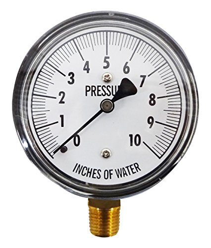 Kodiak Controls KC25-10'' H20 Low Pressure Gauge, 0-10'' WC, 0-10 IWC, Dry, 2-1-2% Accuracy, Bottom Mount, Chrome Plated, Chrome Plated Steel by Kodiak Controls