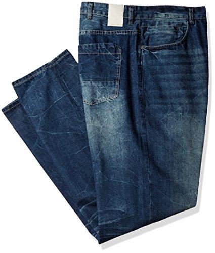 Sean John Men's Tall Size Welt Pocket Jean Wash, Dark Indigo Crackle, 44T (Denim Welt Pocket)