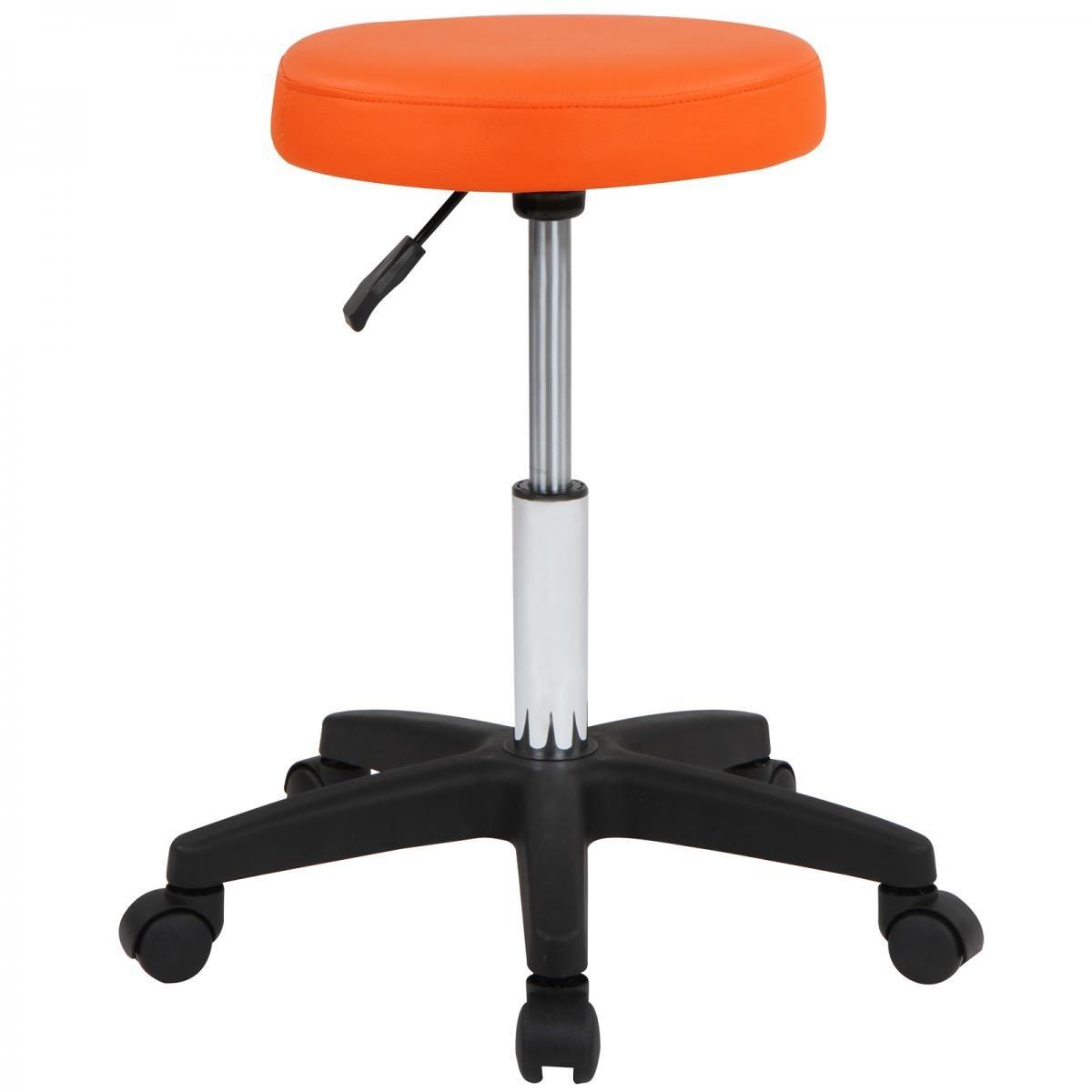 Hocker frei drehbar und h/öhenverstellbar Farbwahl MIADOMODO Barhocker Rollhocker Praxishocker mit Rollen Arbeitshocker Orange