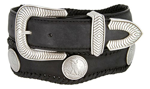Arlington Western Coin Leather Scalloped Belt Black 40