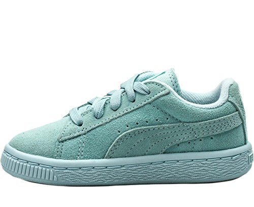 Puma Kids Girl's Suede (Toddler/Little Kid/Big Kid) Clearwater/Puma Silver Sneaker 12 Little Kid - Kids With Clearwater