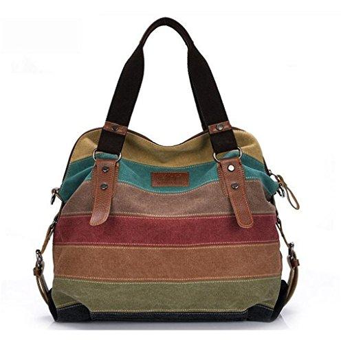 Bagtopia Women Stripes Block Vintage Hobo Canvas Handbags Top Handle Tote Crossbody Shoulder Bags (Hobo Square Handbag)