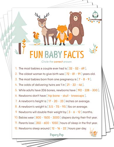 Coed Baby Shower Game - Fun Baby Facts Game Cards (Pack of 50) - Baby Shower Games Ideas for Boy or Girl - Party Activities Supplies - Woodland