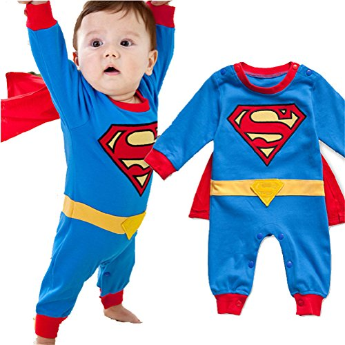 Superman Toddlers Outfits For (Magictolife Baby Boys Superhero Costume Romper Jumpsuit With Removable Cape (70(0-6 months),)