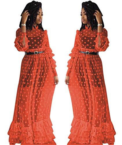 De Vestido Sexy Yojdtd Moda Malla Rojo Falda H5vwqwR