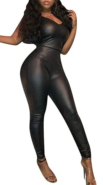 a5ea2ecd041 Amazon.com  Women Leather Leggings Spaghetti Straps V Neck Sexy Jumpsuit  Rompers Bodycon Playsuits Plus Size  Clothing