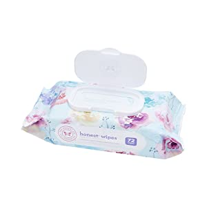 The Honest Company Designer Baby Wipes | Rose Blossom | Over 99 Percent Water | Pure & Gentle | Plant-Based | Fragrance Free | Extra Thick & Durable Wet Wipes | 72 Count