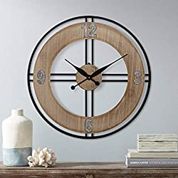 River Parks Studio Addie 30 Round Wood and Metal Wall Clock