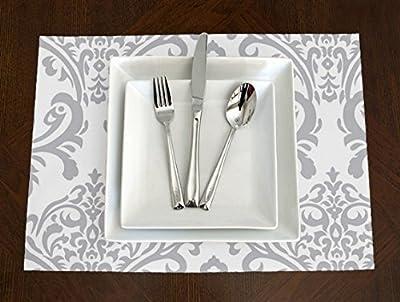 Set of 4 - Grey & White Elegant Damask Placemat Topper Table Mat