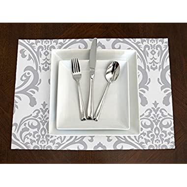 Set of 4 - Grey & White Elegant Damask Placemat Topper Table Mat