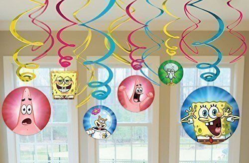 - SpongeBob SquarePants Party Foil Hanging Swirl Decorations / Spiral Ornaments (12 PCS)- Party Supply, Party Decorations