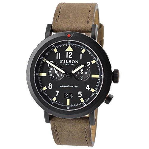 Filson F0110000339 Scout Quartz Taupe Leather & Black PVD Case Men's Watch