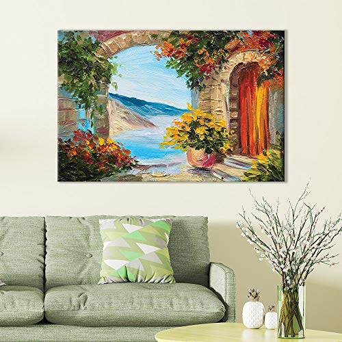 Bingigo Canvas Prints Wall Art Paintings European Vista Overlooking Water Painting - Giclee Print Livingroom/Bedroom Decor Stretched and Framed Ready to Hang - 8