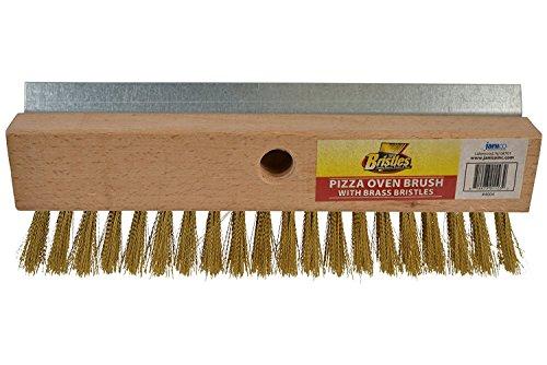 Janico 4004 Bristles Pizza Oven Stone Brush, Includes Rust Proof Steel Scraper, Stiff Brass Wire, Brown