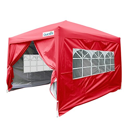 rproof 8x8' EZ Pop Up Canopy Commercial Gazebo Party Tent Red Portable Style Removable Sides (Party Tent Top)