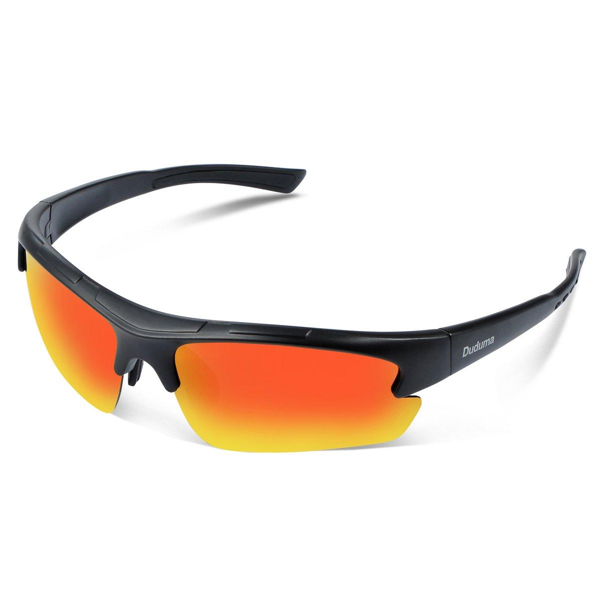 Duduma Polarized Designer Fashion Sports Sunglasses for Baseball Cycling Fishing Golf Tr62 Superlight Frame (Black Matte/red Mirror) by Duduma
