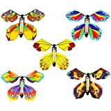 Jofan 5 Pack Magic Flying Butterfly Wind Up Rubber Band Powered Butterfly for Kids Boys Girls Christmas Surprise Gifts…