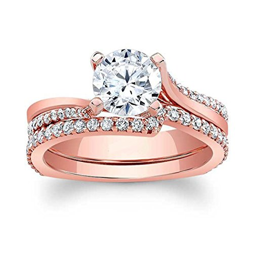 Cathedral Diamonds Cut (luxrygold 14K Rose Gold Plated 0.69Ctw Round Cut Clear CZ Diamonds Cathedral Bridal Wedding Ring Set)