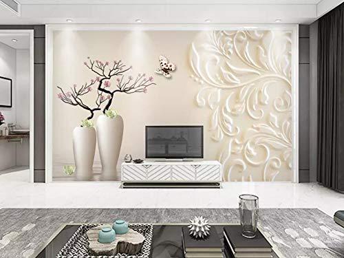 Wall Mural 3D White Floral Pattern Vase Magnolia Relief Modern Custom Photo Wallpaper Murals Wall Decor
