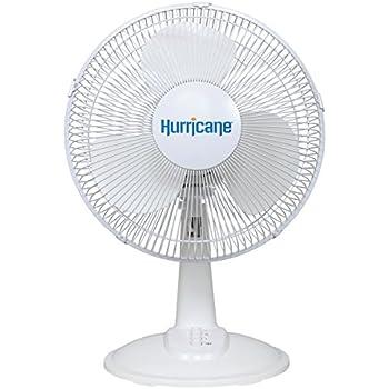 Hurricane Desk Fan - 12 Inch | Classic Series | Quiet Desk Fan with 90 Degree Oscillation, 3 Speed Settings, Adjustable Tilt - ETL Listed, White