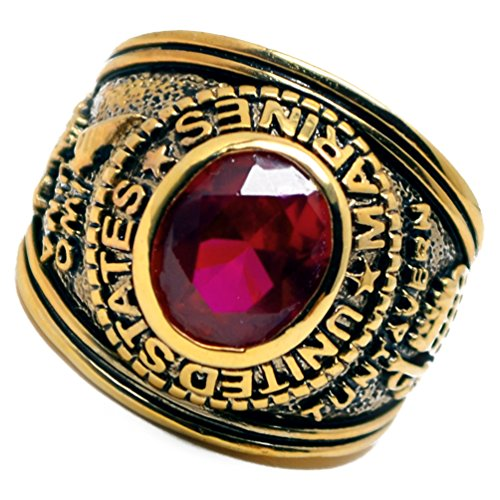 Accents Kingdom Gold Plated Men's US Marines Military Ring Ruby Red CZ Size 10