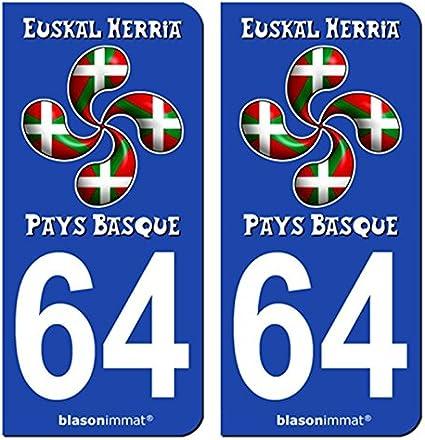 2 Pegatinas de placa de matrícula Auto 64 País Vasco – Lauburu drapé: Amazon.es: Coche y moto