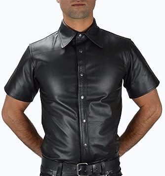CoolTing S-XXXL Camisas de Manga Corta Ajustadas de Cuero para Hombres Camisas Casuales de Manga Corta de Talla Grande Disfraces enrollables Club Gay de Solapa,Negro,XXXL: Amazon.es: Deportes y aire libre