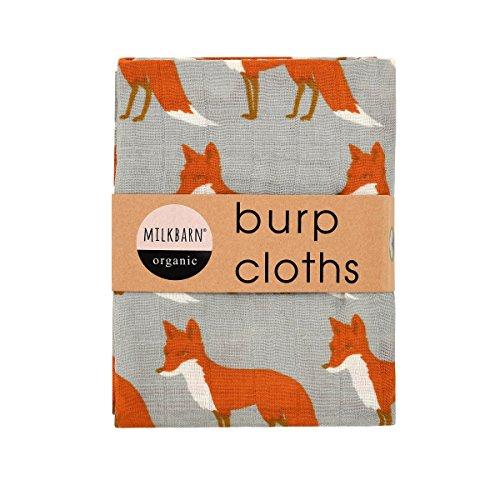 Milkbarn Organic Cotton Burp Cloths''Orange Fox'' - Set of Two by MilkBarn (Image #1)
