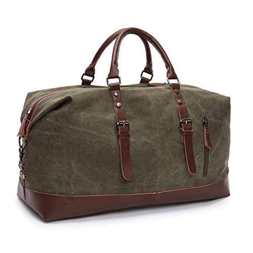 (seamand Army Green Weekender Overnight Bag Canvas Genuine Leather Travel Duffel)