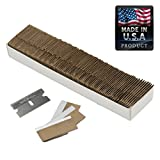 Razor Blades Utility Knife: Single Edge Razor Blades, Steel Box Cutter Blades USA-Made Utility Blades - 100 Pack, by WEUPE