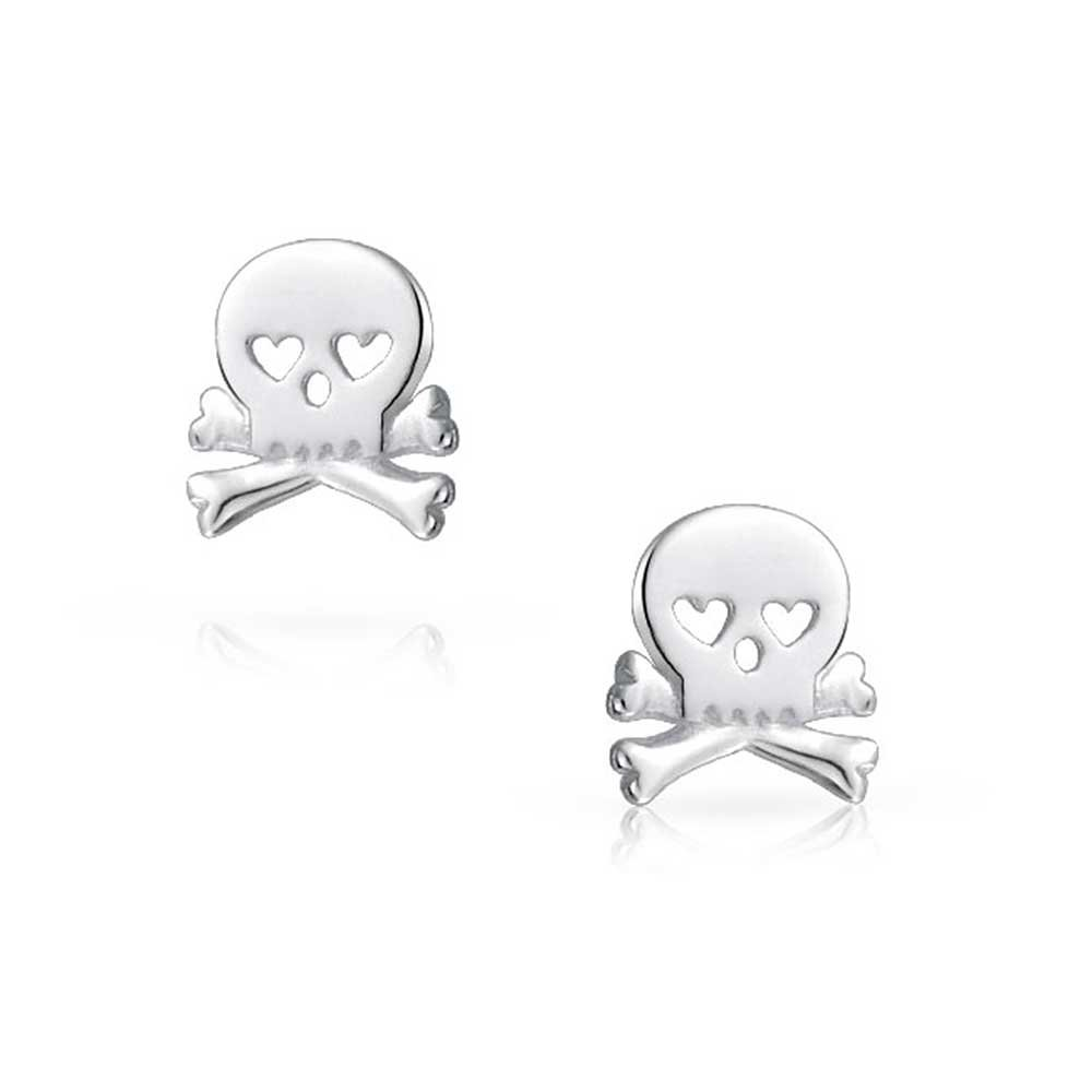 e26f42ad5 Caribbean Pirate Skull And Crossbones Heart Eyes Stud Earrings For Men For Women  Teen Polished 925 Sterling Silver: Amazon.ca: Jewelry