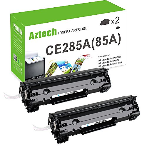 AZTECH 2 Pack 1,600 Pages Yield Black Compatible Toner Cartridge Replaces CE285A CE285 85A Used for HP LaserJet Pro P1102 HP LaserJet P1102W P1100 M1212NF MFP M1217NFW MFP MF3010 M1210 M1132 Printer