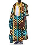 Winwinus Men's Batik Gowns African Print Dashiki Oversized Tops T Shirts Two 2XL