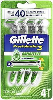 Aparelho de Barbear Descartável Gillette Prestobarba3 Sensitive - 4 unidades