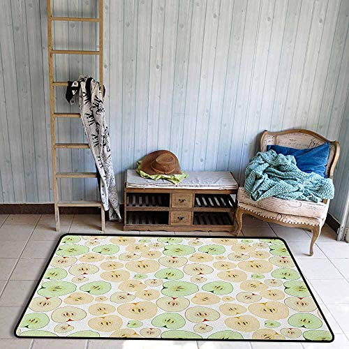 Kids Rug,Apple Fruits Cut in Half Cores and Seeds of Apples Refreshing Vegetarian Options Abstract,Anti-Slip Doormat Footpad Machine Washable,4'7