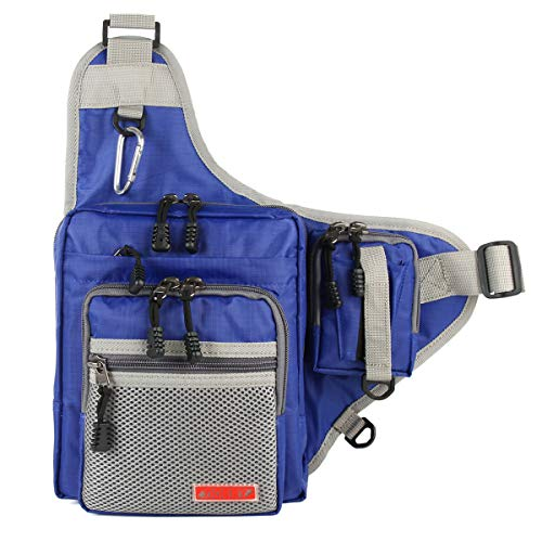 - NOEBY Sports Shoulder Bag Portable Tackle Storage Hunter Fishing Hiking Hunting Camping Cycling Mountaineering Tackle Backpack Cross Body Messenger Sling Bags (Blue)