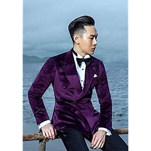 30%OFF Coat Pant Designs Purple Velvet Men Suit Prom Jacket Slim Fit ...