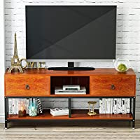 TV Stand with Bookshelf, LITTLE TREE 60 Large Entertainment Center with 2 Drawers, 3-Tier Media Console Metal Storage Television Table for Living Room, Cherry
