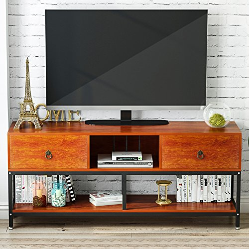 LITTLE TREE TV Stand, 60'' Large Entertainment Center with Drawers and Open Storage Shelves, 3-Tier Wide Media Console Metal Television Table/TV Cabinet for Living Room and Apartment, Cherry by LITTLE TREE