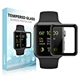 SUPTMAX Screen Protector for Apple Watch Series 3 Screen Protector [Soft Frame Edge] [Full Adhesive] Full Coverage Carbon Fiber Screen Protector Apple Watch 42MM (42mm, Black)