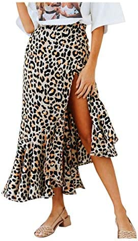 Exquisito Sexy Cottage Fashion Leopard Mid-Calf Falda Mujeres ...