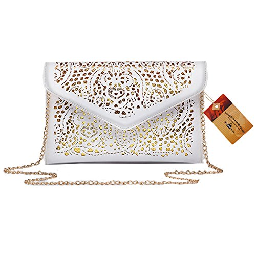 White Floral Tote (ZLMBAGUS Women Hollow Out Floral Pattern Envelope Handbag Fashion PU Tote Evening Clutch Chain Crossbody Shoulder Bag White)