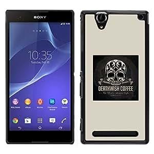 """For Sony Xperia T2 Ultra Case , Wish Skull Coffee muerte impresiones Negro"""" - Diseño Patrón Teléfono Caso Cubierta Case Bumper Duro Protección Case Cover Funda"""