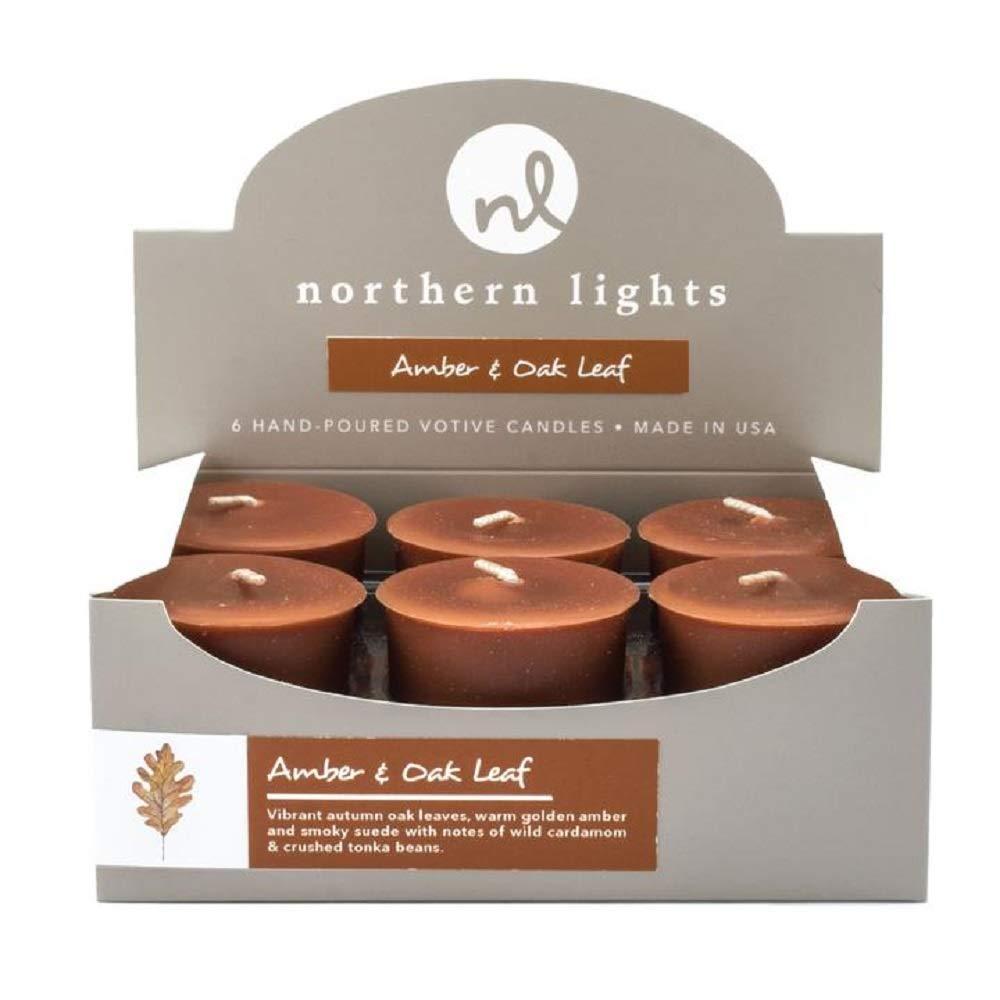 Northern Lights Fragrance Palette Boxed Votive Candles 6-Piece Set (Amber & Oak Leaf)