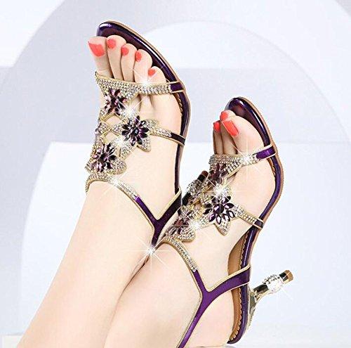 Diamond Pelle Purple Oro 6Cm Alto Con Strass Summer Donna In Viola Da Sandalo Blu Party wtTIq