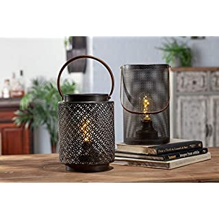 "Gerson 9""H Metal Lantern Home Decor, 7.87InL x 7.87InW x 14.57InH, Black"