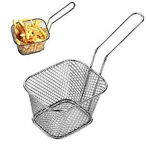Comficent 1pcs Cestas Cromadas para Patatas Fritas Mini Cestas para freidora de de Acero Inoxidable de Comida Presentación Filtro de los Alimentos: ...