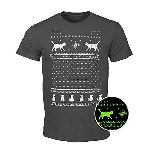 Herren Leuchtet im Dunkeln Katzen Weihnachts-T-Shirt - Aschgrau